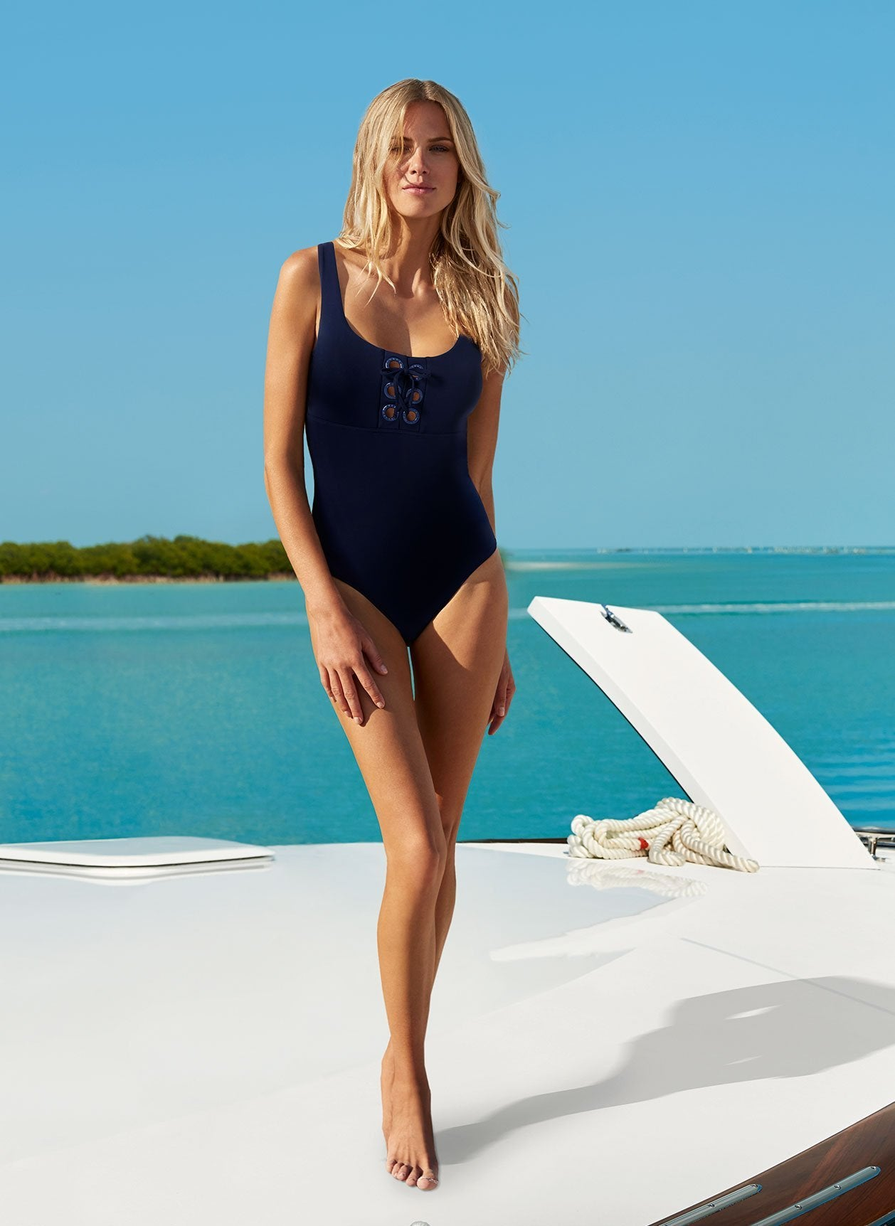 Tulum Navy Swimsuit Lifestyle