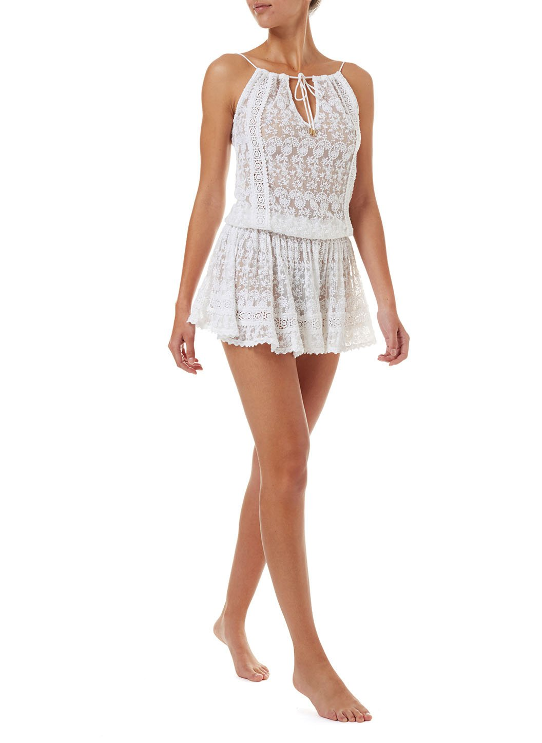 zoe white embroidered openback short beach dress 2019 F