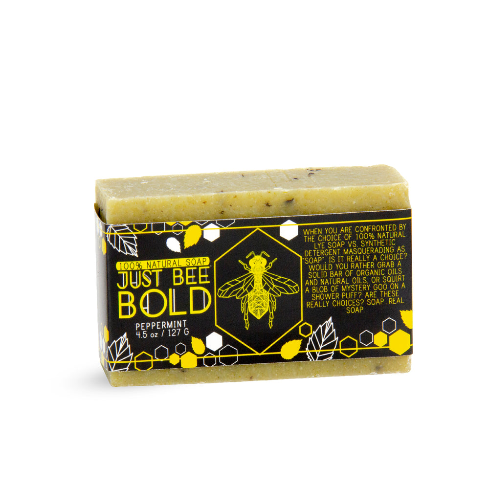 Just Bee Bold Peppermint - 100% Natural Organic Bar Soap