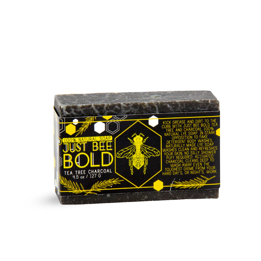 Just Bee Bold Tea Tree Charcoal  - 100% Natural Organic Bar Soap