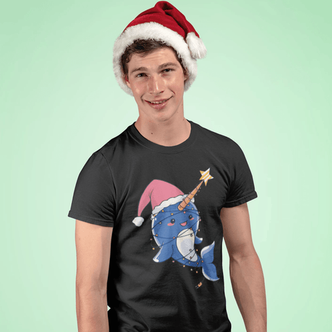 Christmas Narwhal T-shirt For Men Clothing Turtle Dojo
