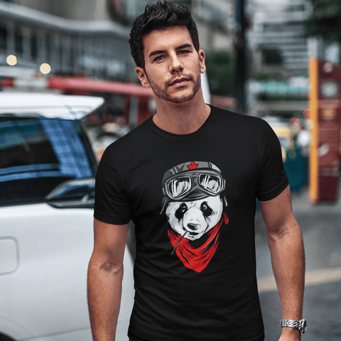 Cool Panda T-shirt For Men Clothing Turtle Dojo