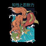 Fox And Fish Japanese Style T-shirt For Men Clothing Turtle Dojo