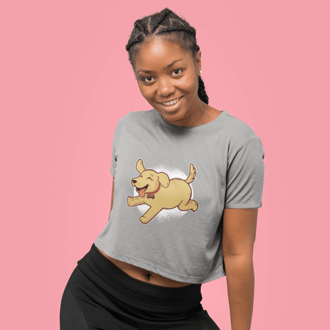 Golden Retriever Puppy Crop Top For Women Clothing Turtle Dojo