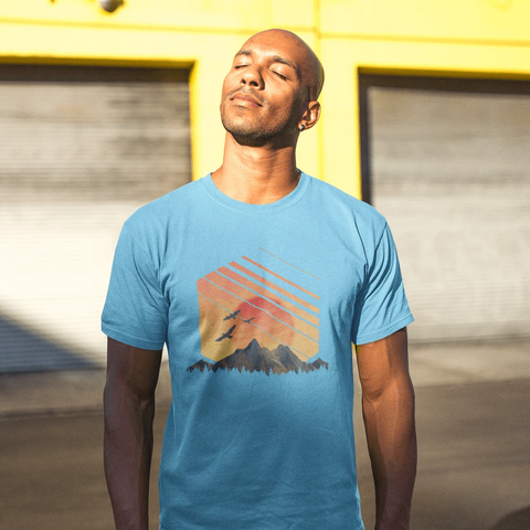 Mountain Sunset T-shirt For Men Clothing Turtle Dojo