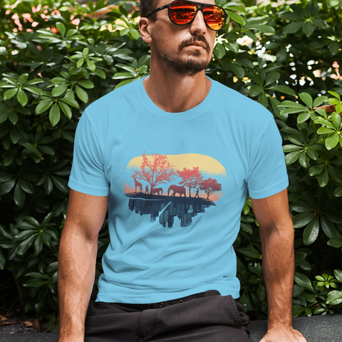 Nature And City T-shirt For Men Clothing Turtle Dojo