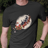 Santa With Reindeers Christmas T-shirt For Men Clothing Turtle Dojo