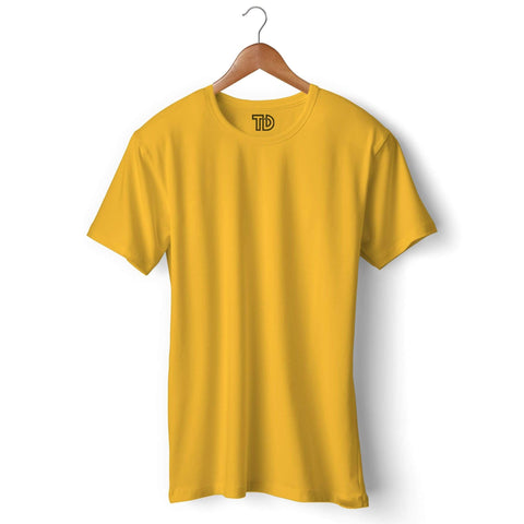 Solid Plain Yellow T-shirt For Men Clothing Golden Yellow / S Turtle Dojo