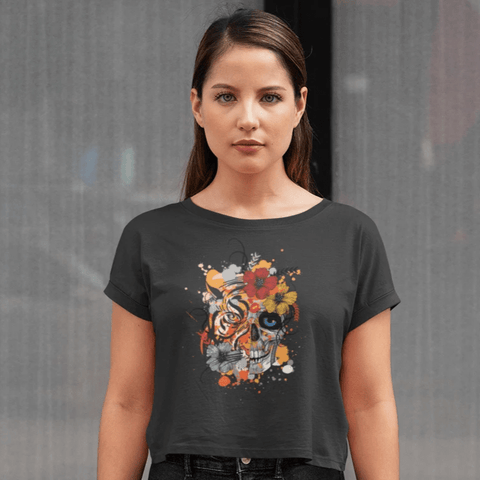 Tiger and Skull Crop Top For Women Clothing Turtle Dojo