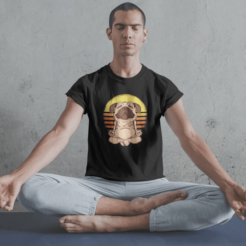 Yoga Pug T-shirt For Men Clothing Turtle Dojo