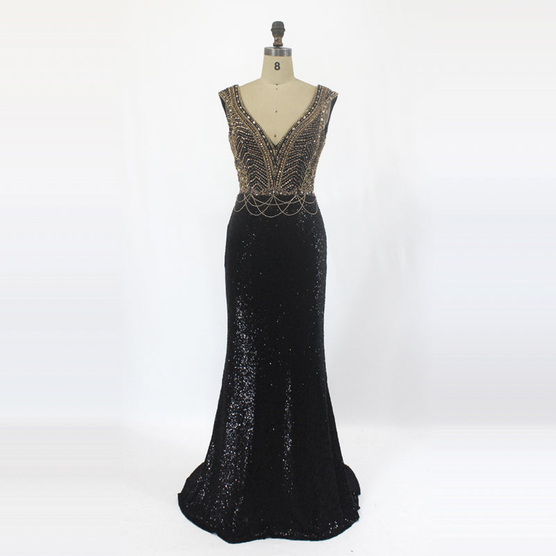 Black With Golden Evening Wear