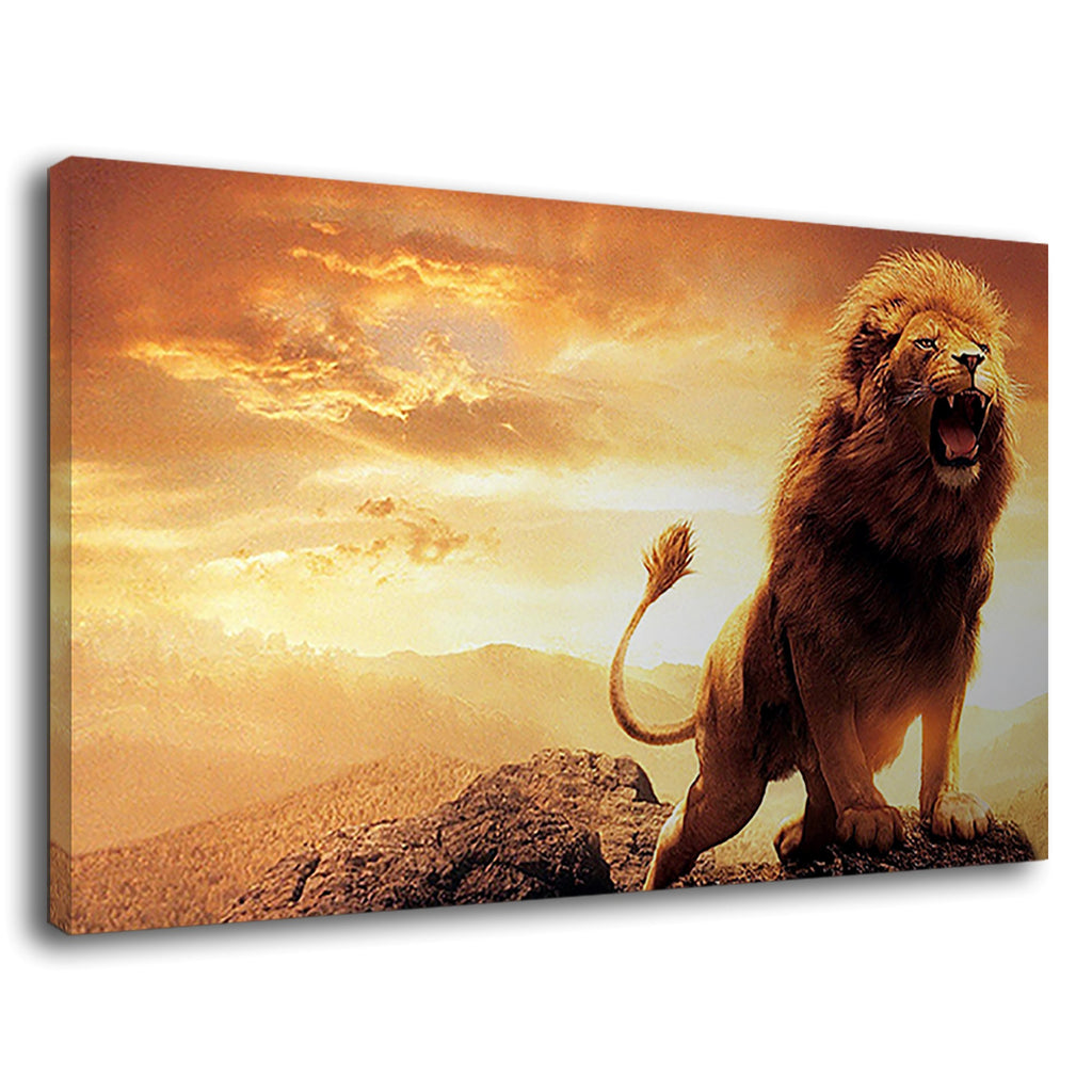 Roaring Lion Heart Lion King Wild African Sunset