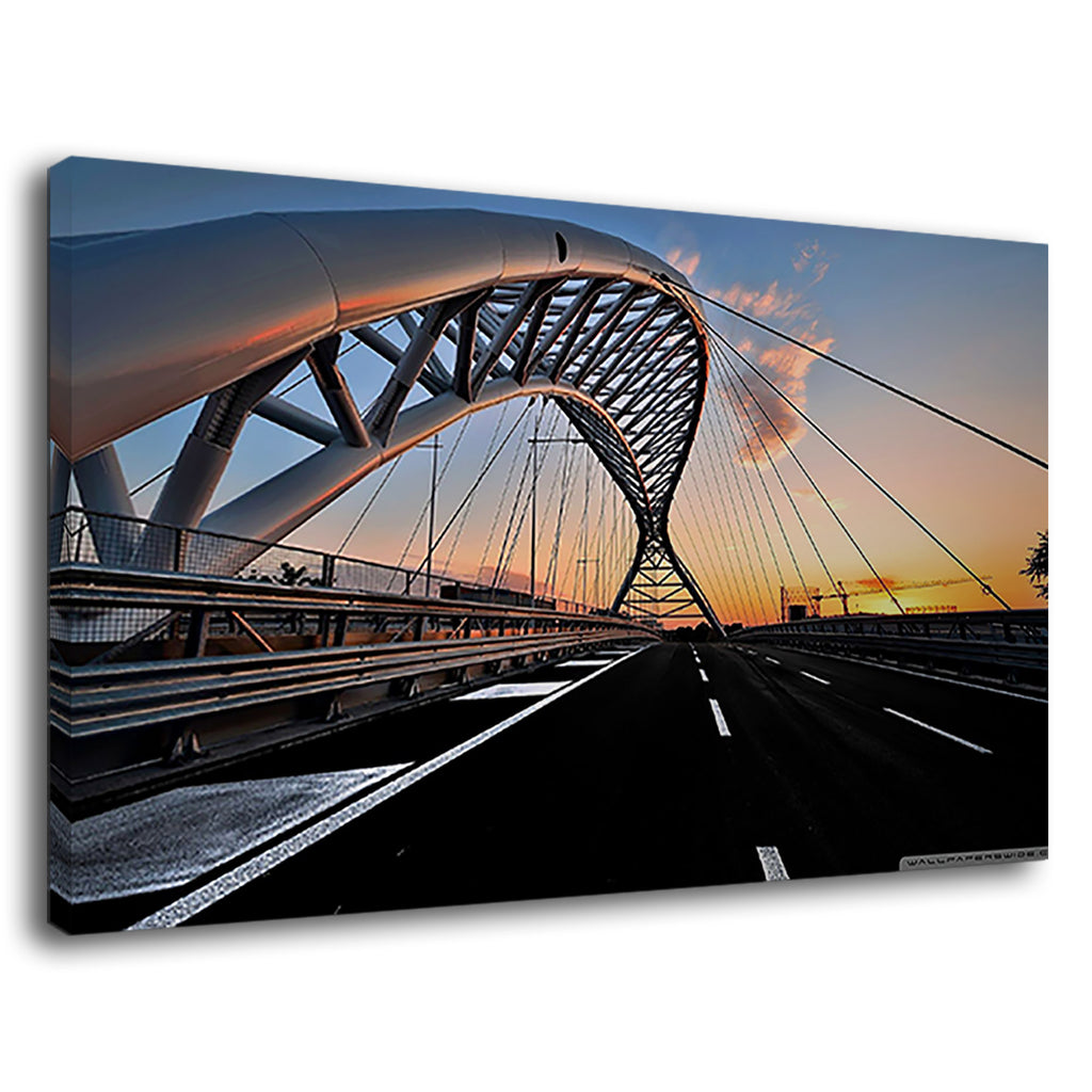 Amazing Bridge Sunset Black Road For Drawing Room