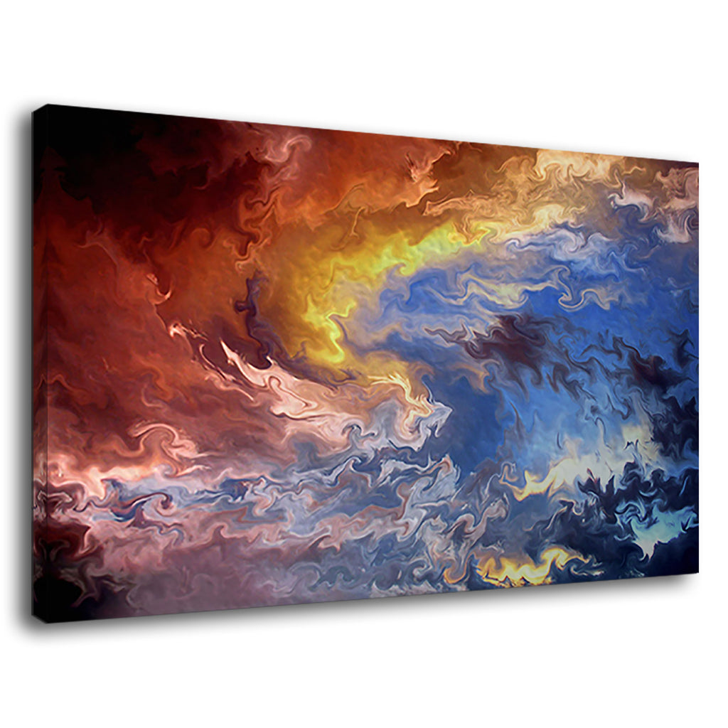 Abstract Firey Swirls And Deep Blue Ocean Painting