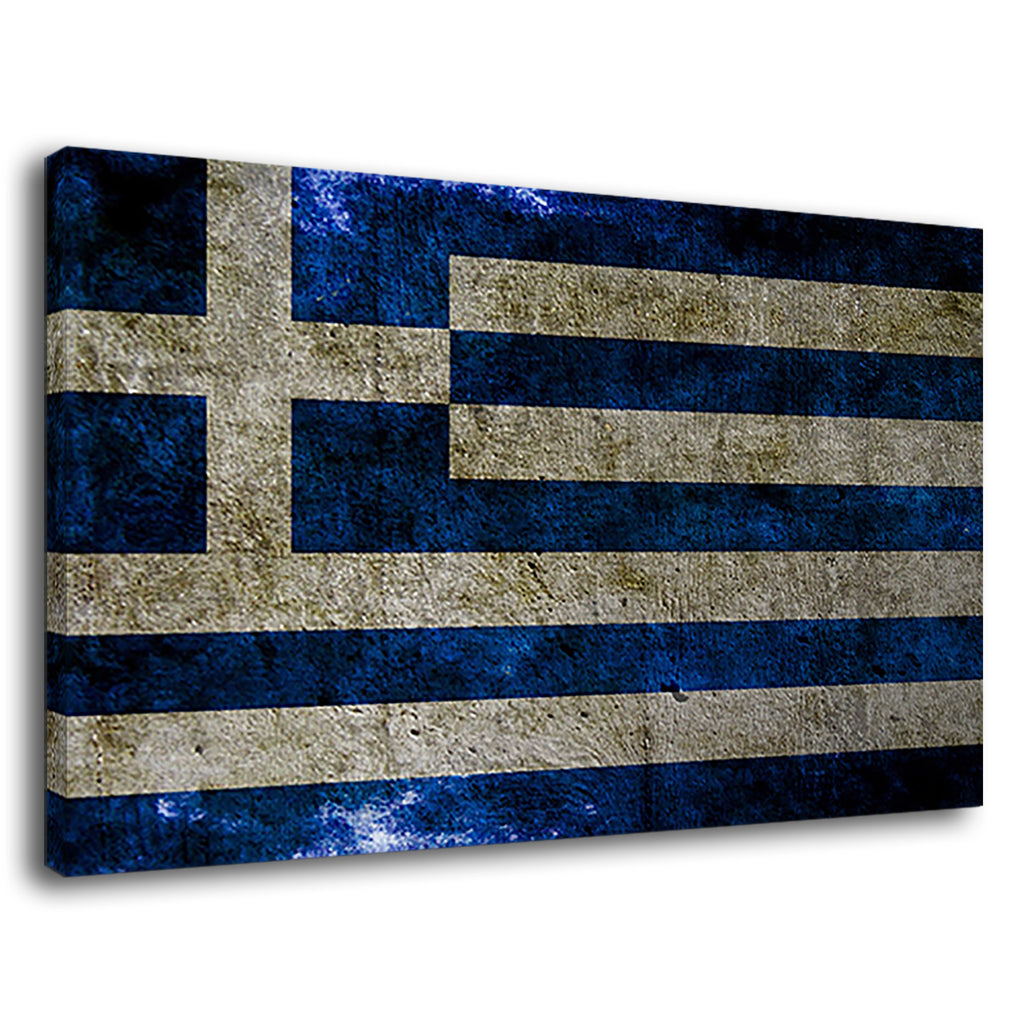 National Flag Of Greece Grunge Style On Concrete