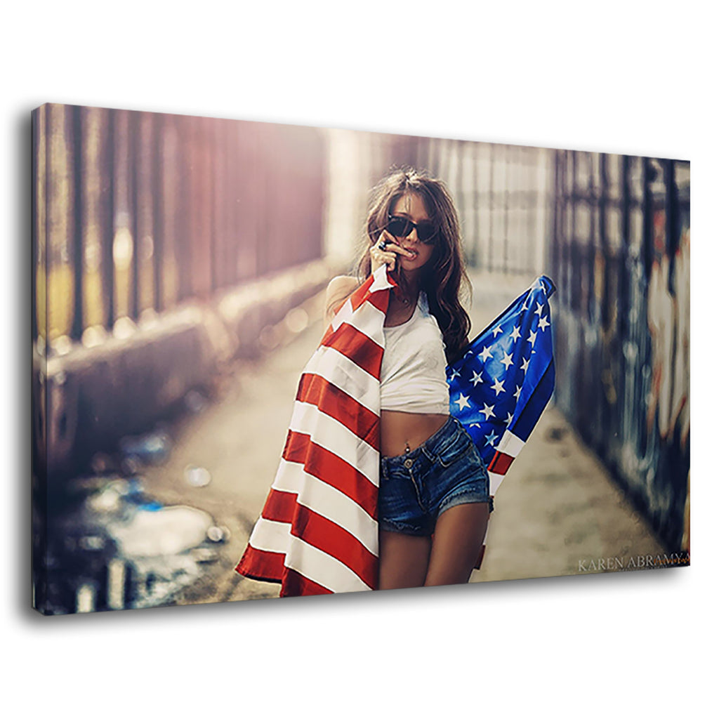 American Girl With Flag  Martin Garrix Feat Usher