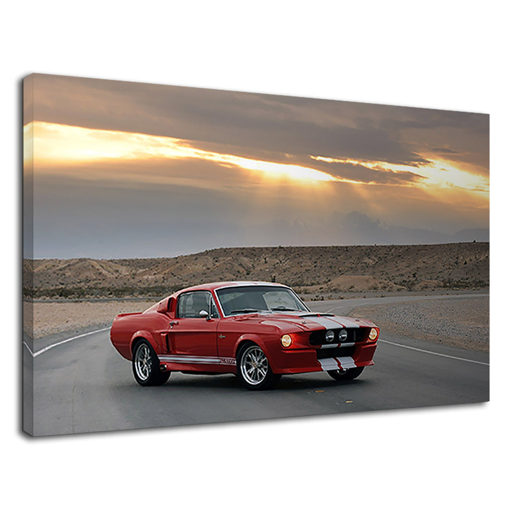 Classic Mustang Fastback Red & White On Freeway
