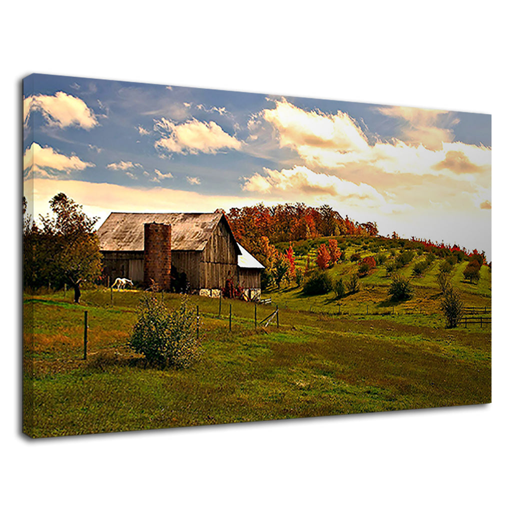A Barn & Green Field Under Beautiful Sky Landscape