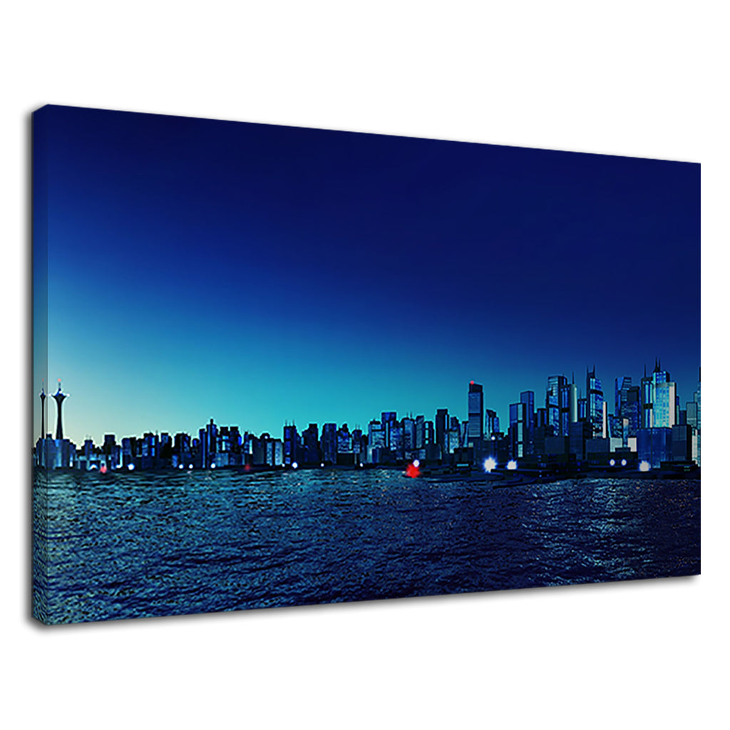 Prussian Blue Neon Cityscape Night Sky City Night