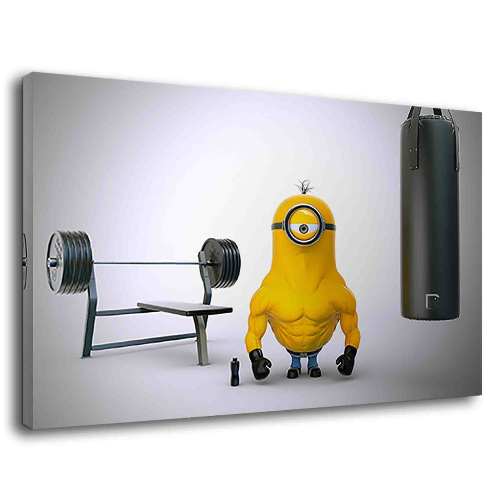 Famous minion character stuart bodybuilding in gym
