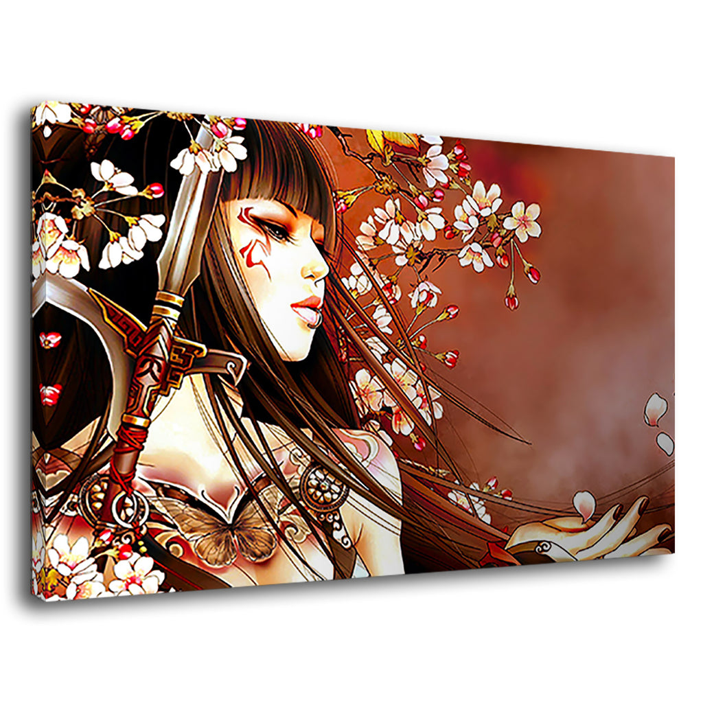 Beautiful Asian Chinese Geisha Drawing Floral Mist