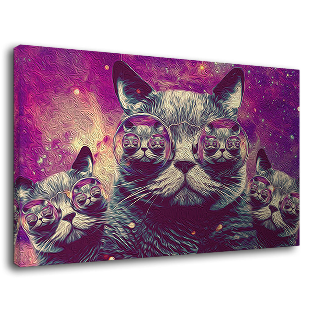 Psychodelic Cat In Sunglasses Purple Kitten