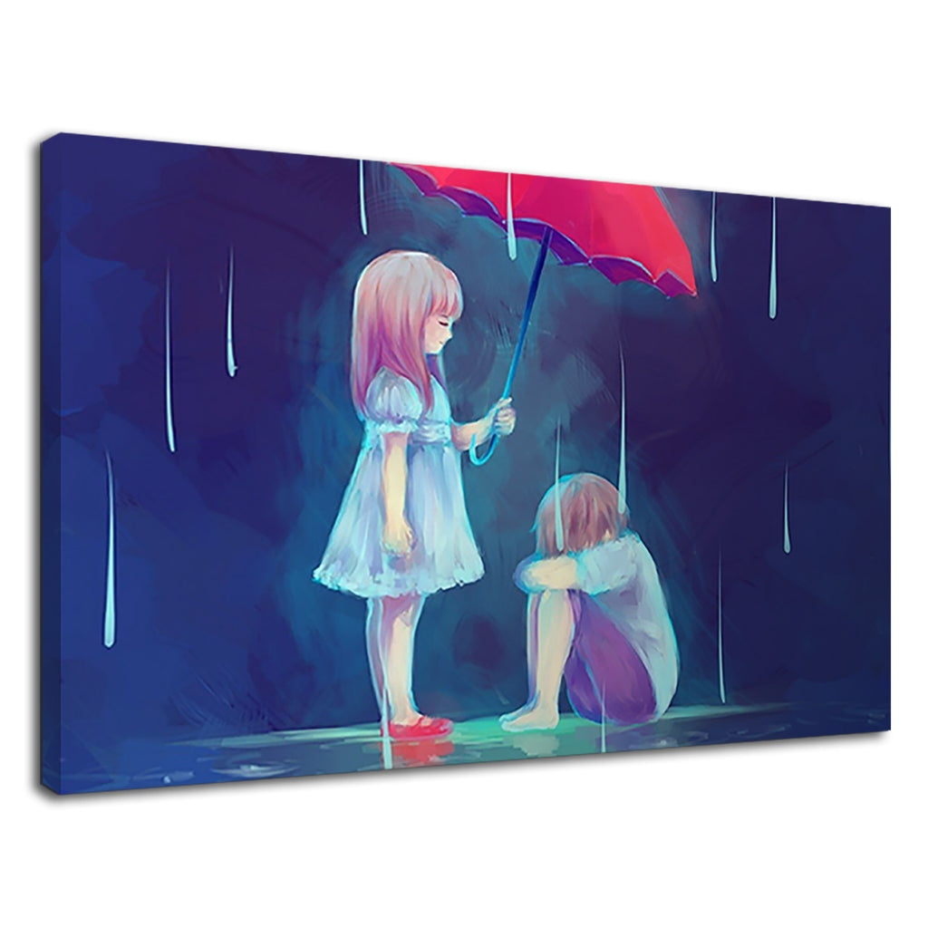 Little Couple Anime In The Rain With Umbrella