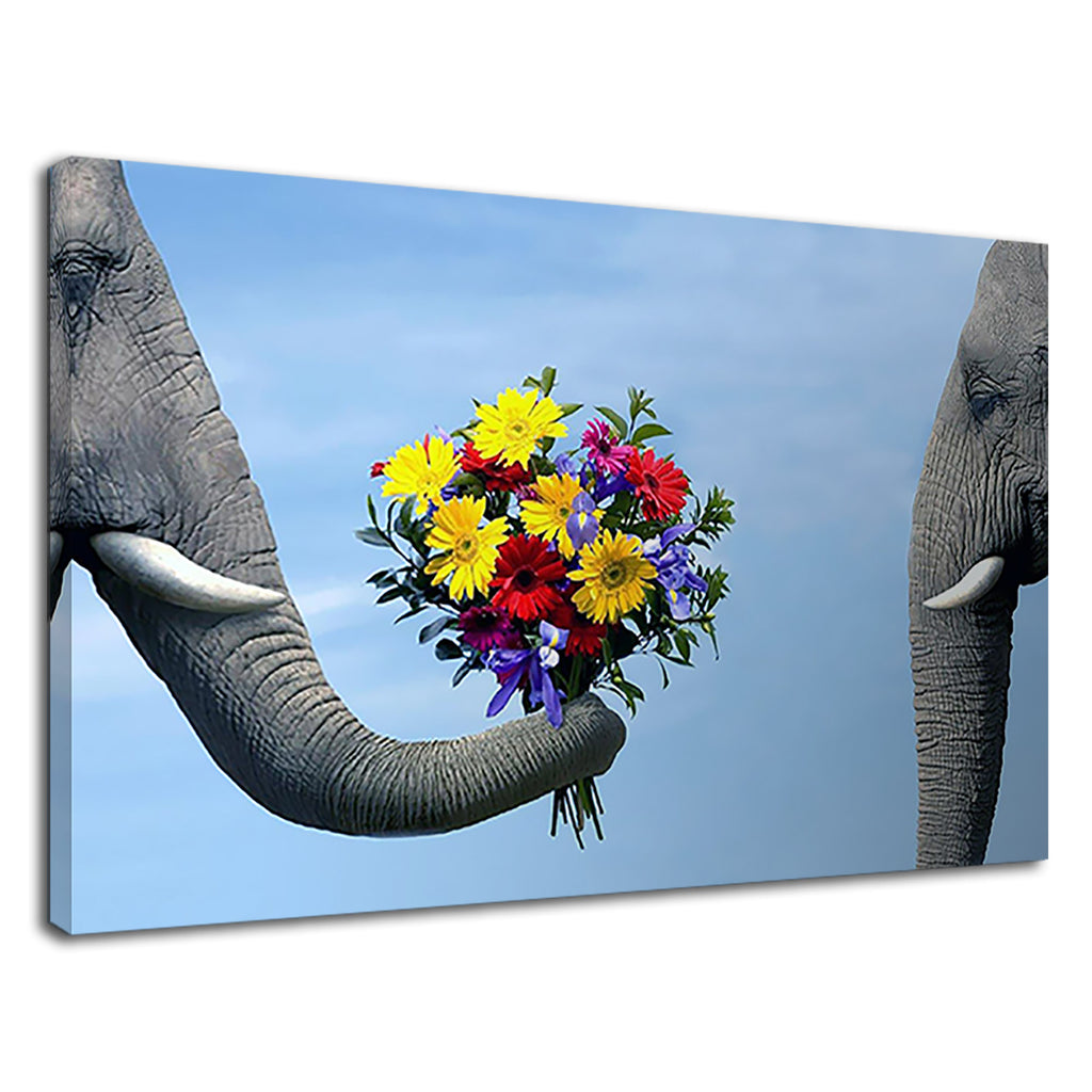Elephant Giving Flower To Another Elephant