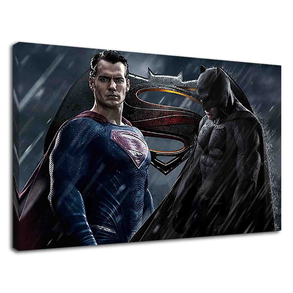 Batman and Superman in rain for boys bedroom