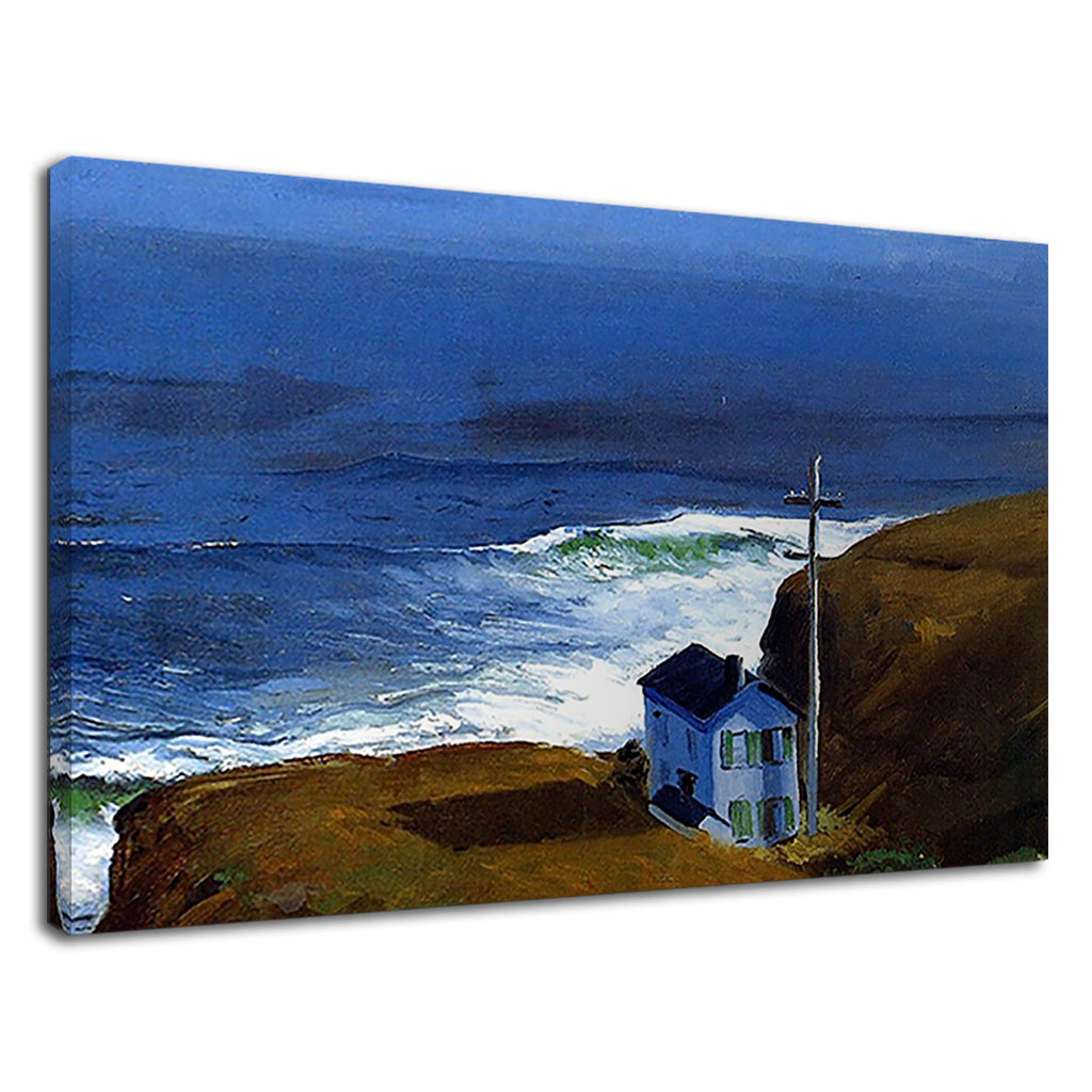 Beautiful Blue Church On Cliff Top Painting