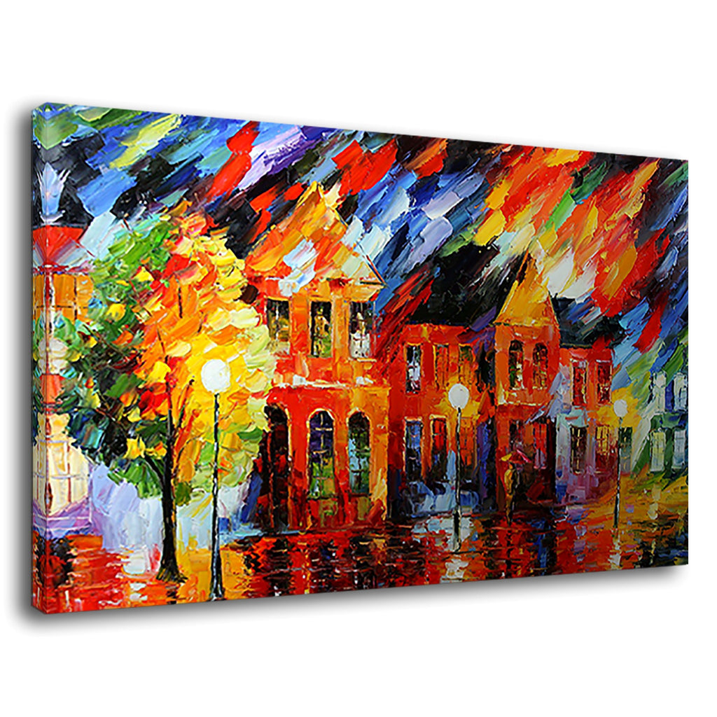 Leonid Afremov Anger Colourful Abstract Houses
