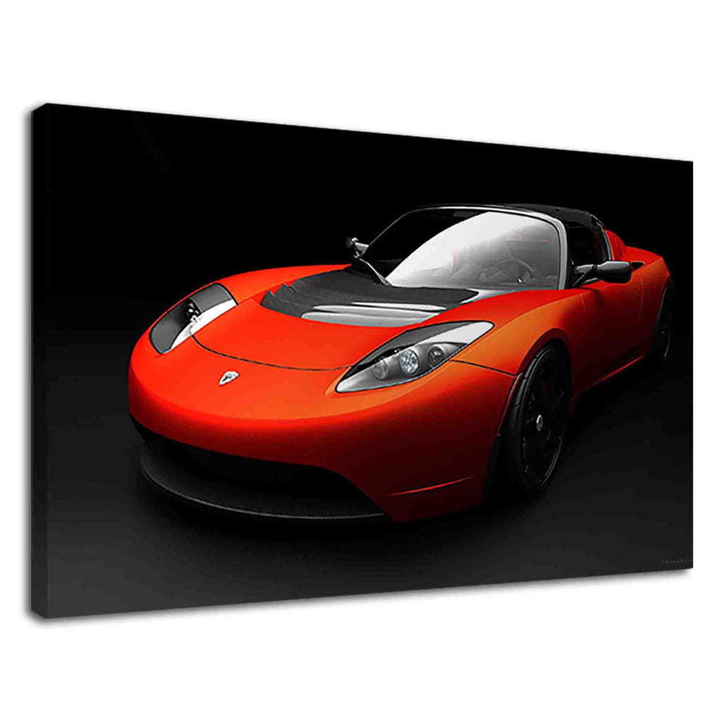 Orange Tesla Roadster Sport cool sports car