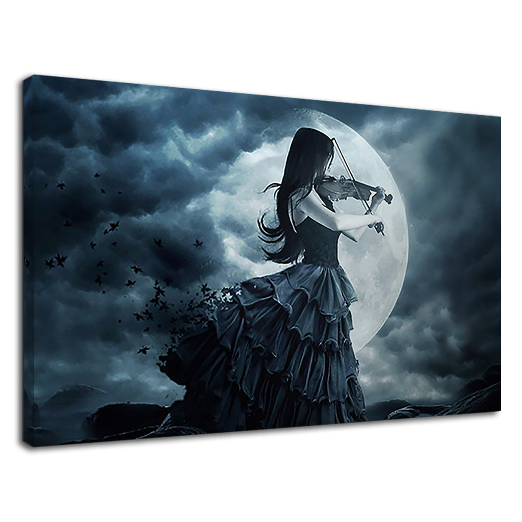 Dark Gothic Violinist Playing At Night Full Moon