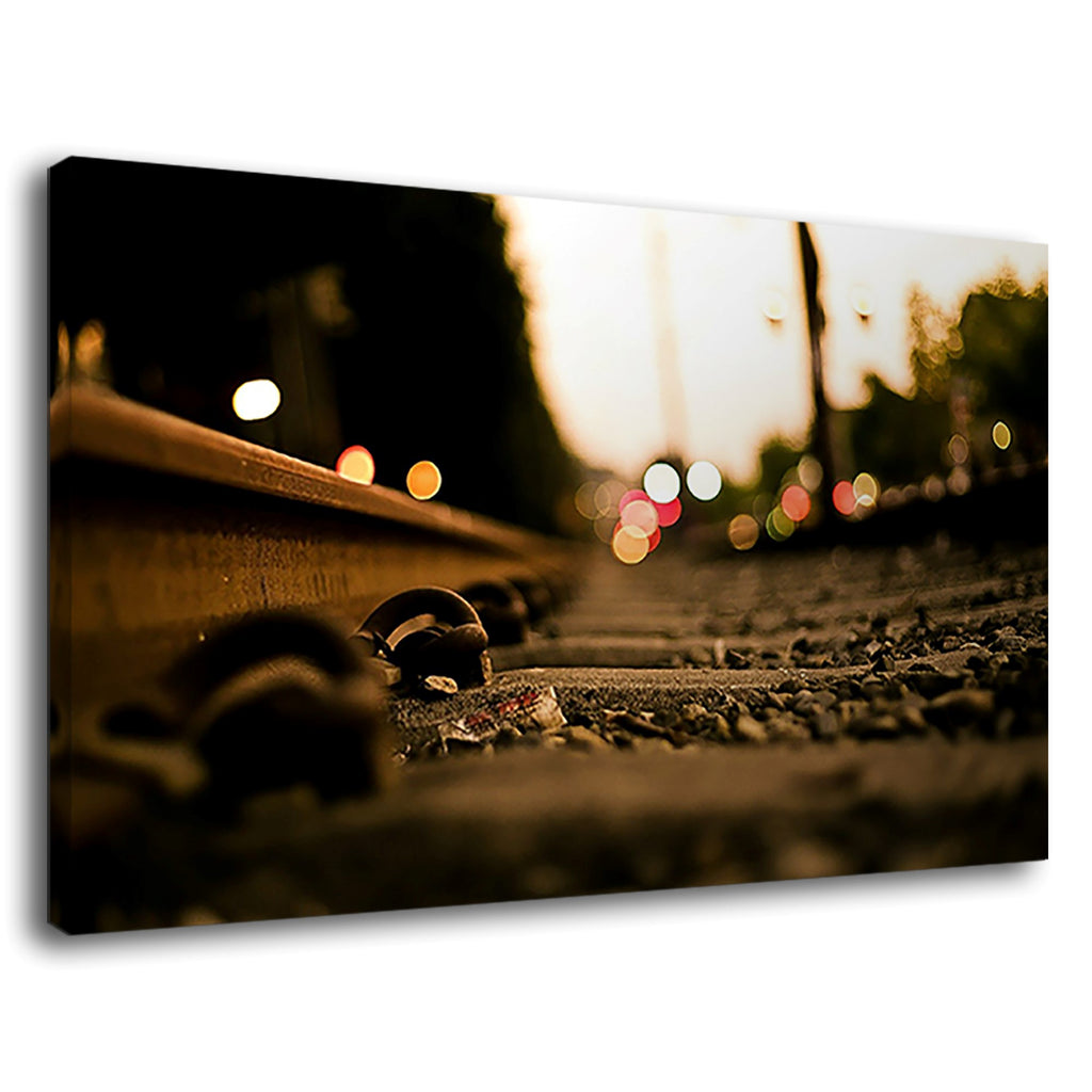 Bokeh Lights On A Retro Train Track City Landscape