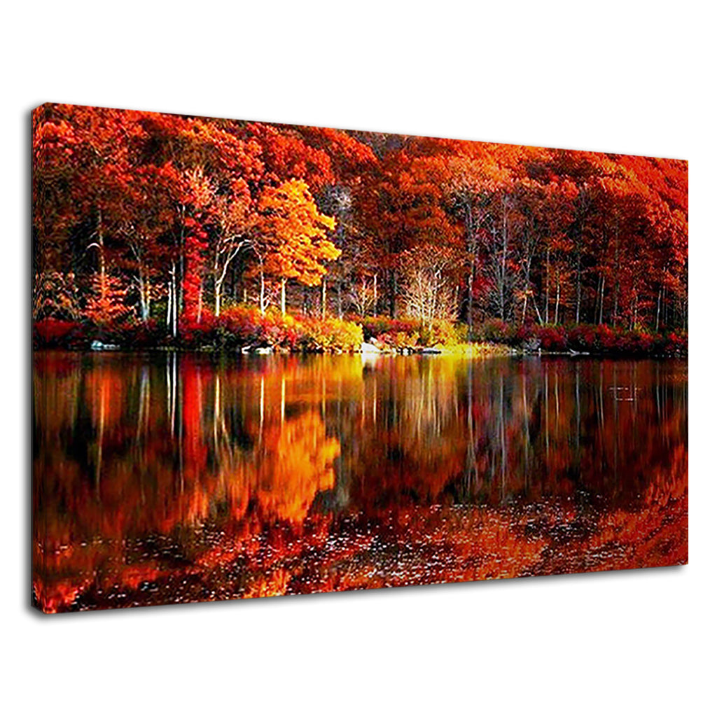 Scenic Autumn Burnt Orange Leaves Lake Landscape
