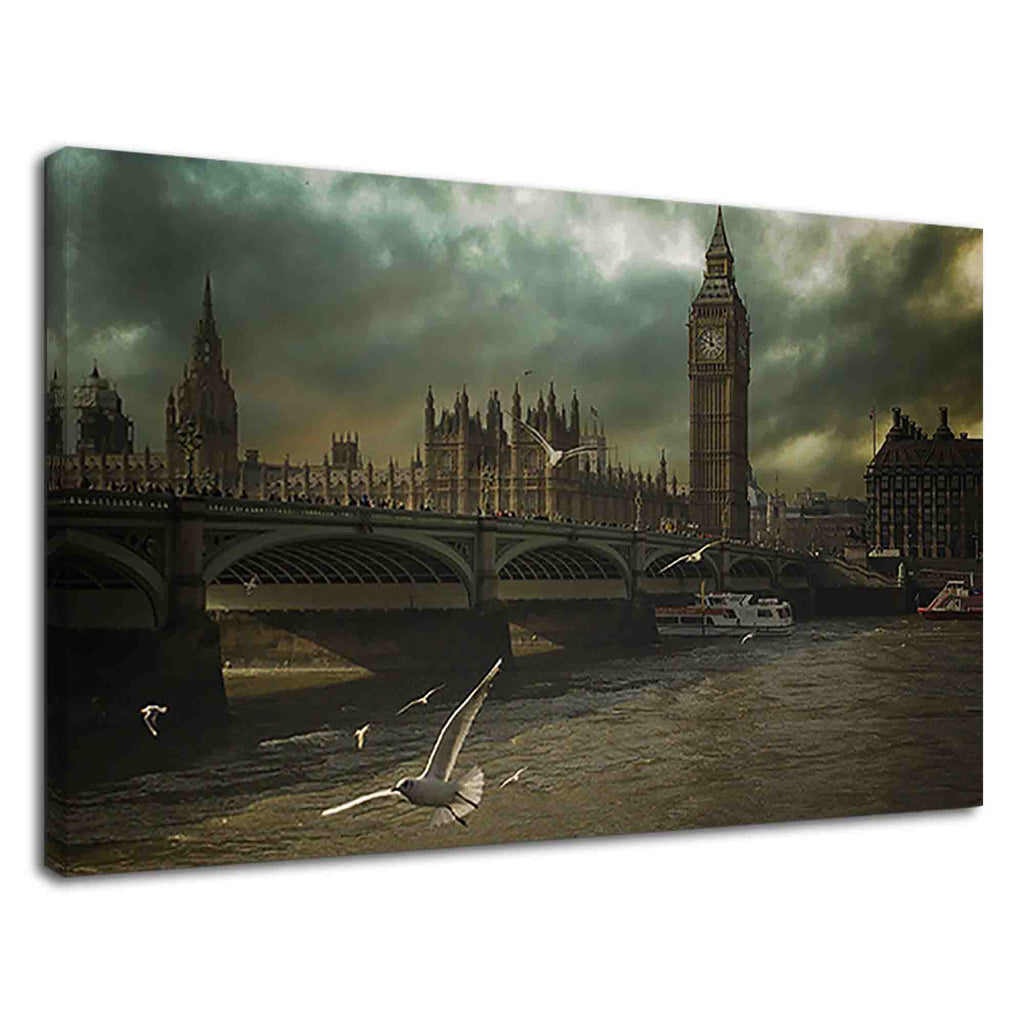 Dramatic Big Ben and Seagulls In stormy weather