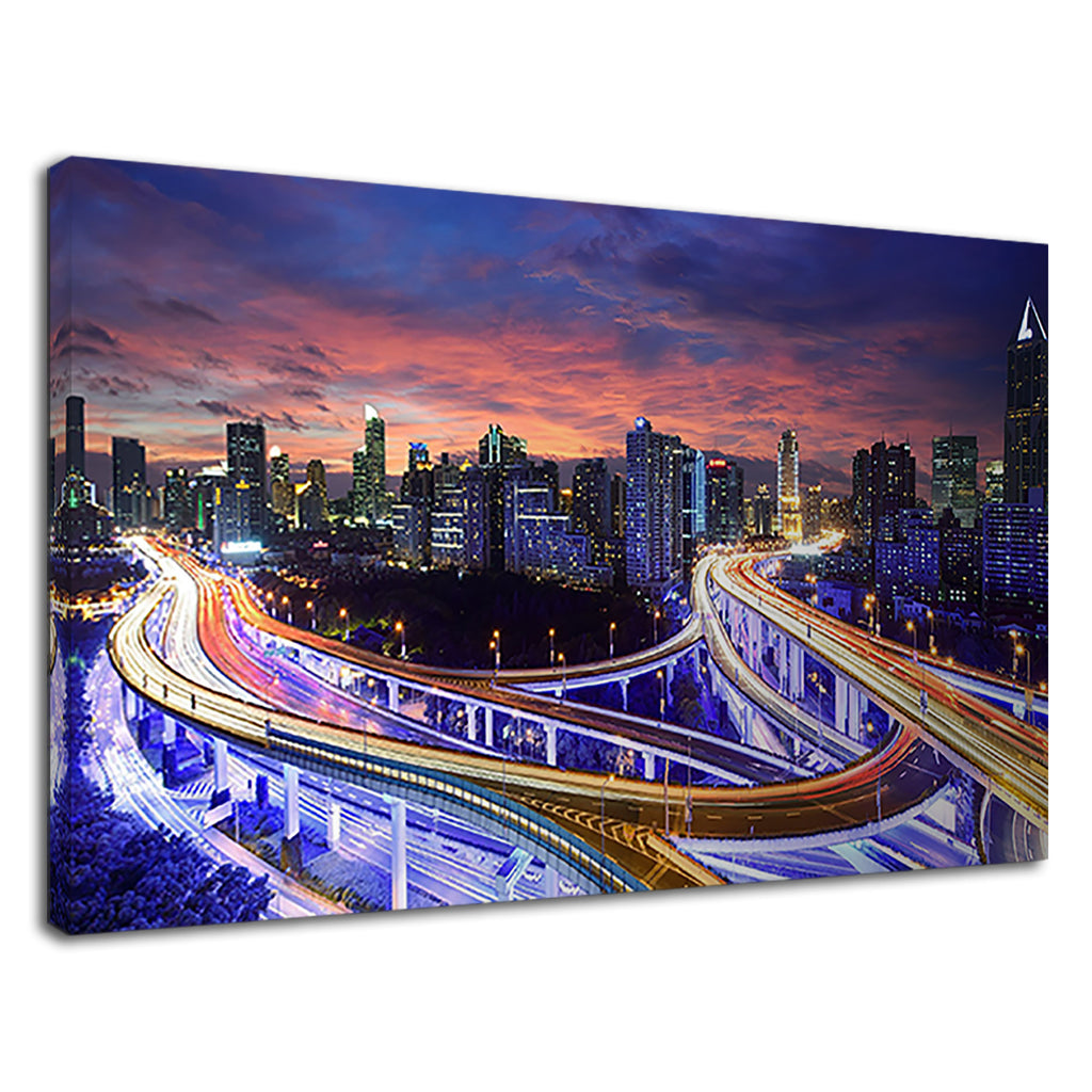 Hong Kong City Highway Cityscape At Sunset Lights