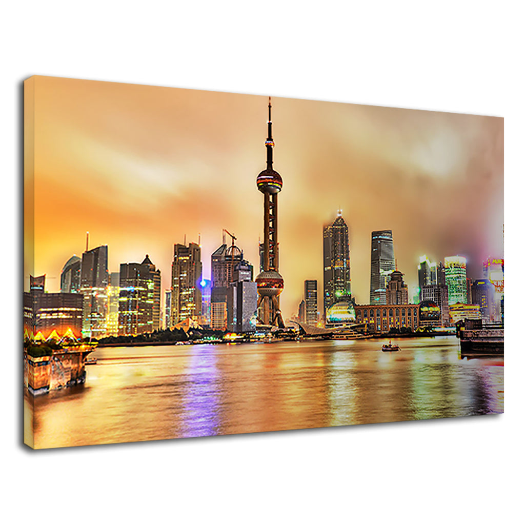 Shanghai China Cityscape At Sunset Orange Fire