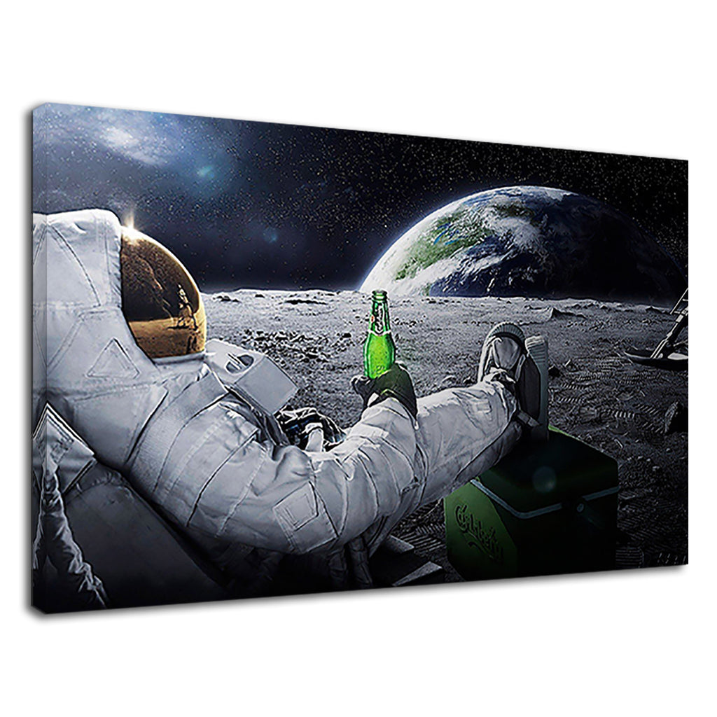 Space Man Astronaut On The Moon With Beer Funny
