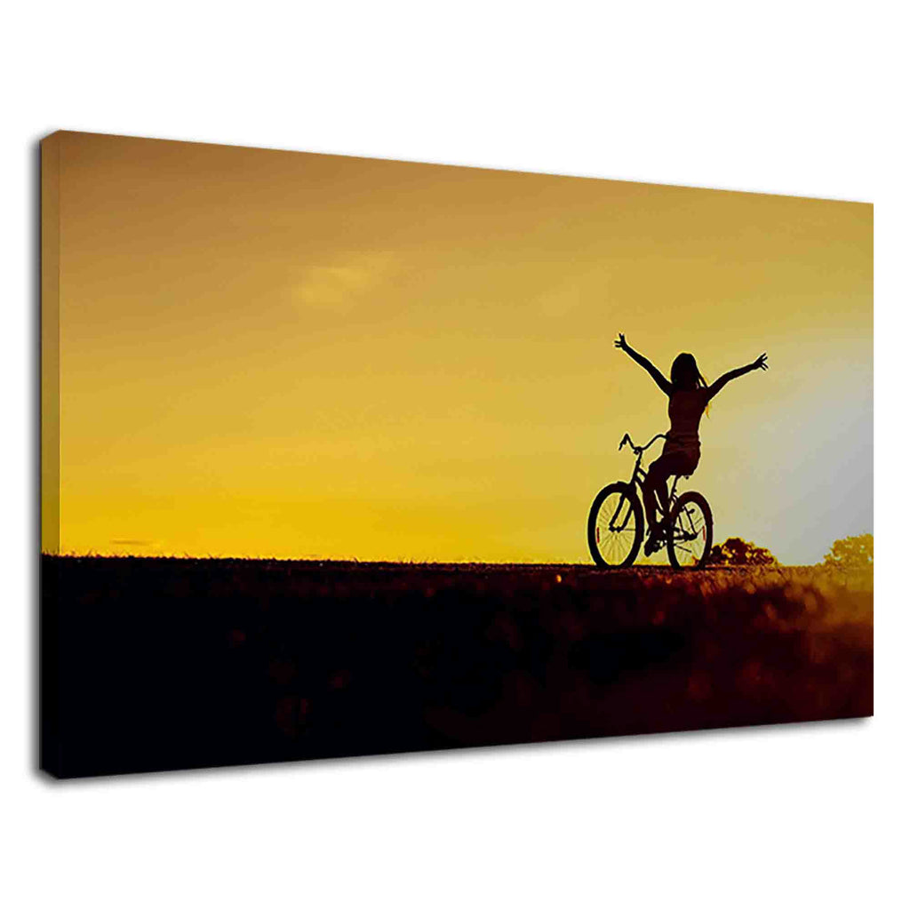 Silhouette of a girl riding bicycle during sunset