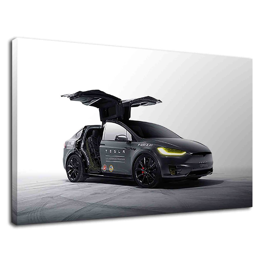 Black Tesla Model X With Opened Falcon Wing Doors