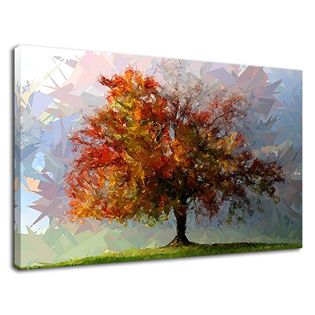 Abstract Trees Geometric Forest Leaves Red Autumn