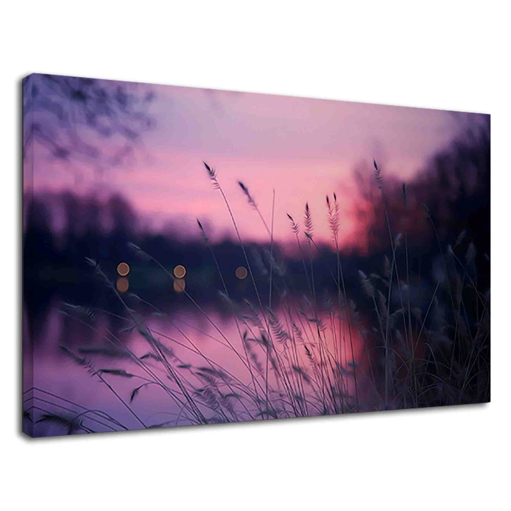 Purple Sky After Sunset And Grasses For Bathroom
