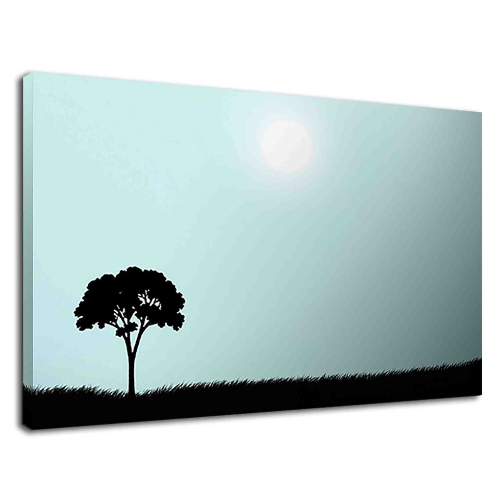 Silhouette Of A Tree And Grasses On A Sunny Day