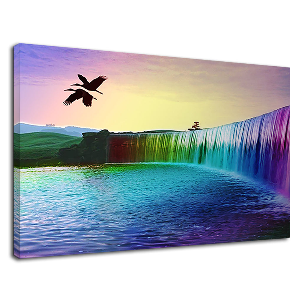 Rainbow Waterfall In Paradise Fantasy Landscape