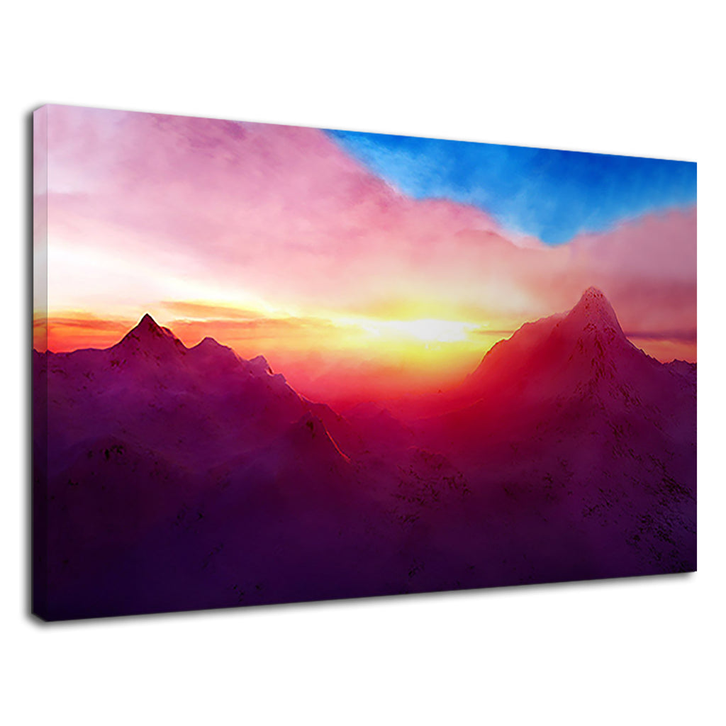 Surreal Mountain Scene Sunset Orange Red  Blue