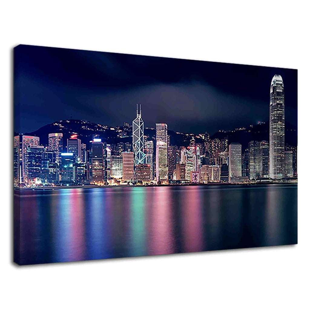 Beautiful Hong Kong City At Night For Living Room