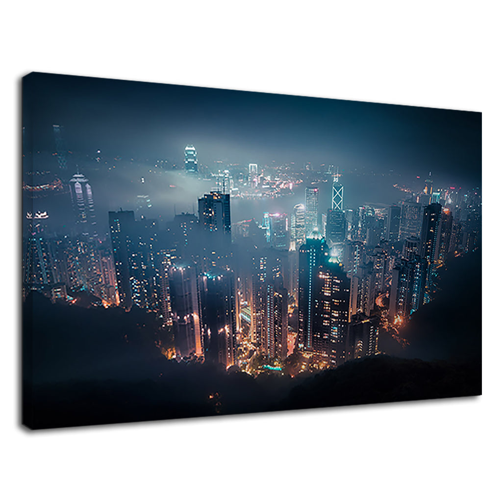 Hong Kong Harbour City Lights Cityscape City Scene