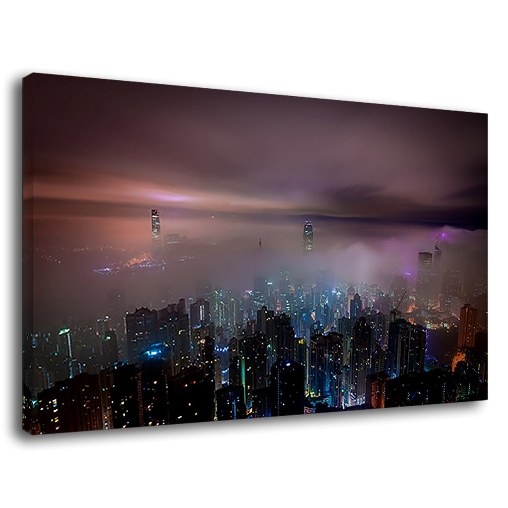 Hong Kong Beautiful Foggy Night Scene Top View