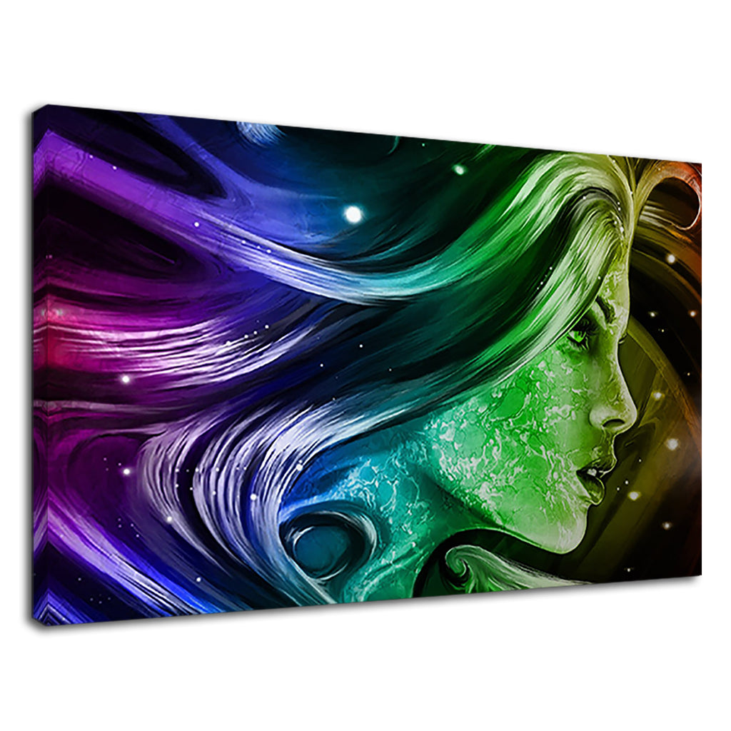 Rainbow Woman Female Face Digital Neon Hair
